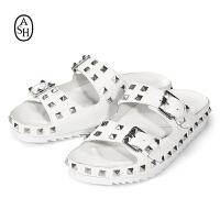 ASH艾熙 Utopia 夏季皮带扣铆钉拖鞋 白色平底凉鞋 女鞋
