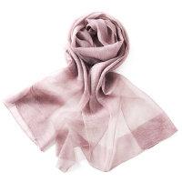 纯色真丝围巾桑蚕丝披肩长款春夏防晒沙滩巾真丝丝巾女