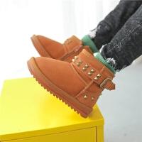 2017新款儿童雪地靴男童靴子真皮短靴铆钉冬季宝宝雪地棉鞋保暖
