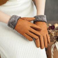 户外骑车滑雪分指手套皮毛一体加厚保暖五指翻边手套女士