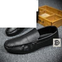 夏季男士豆豆鞋韩版小皮鞋时尚发型师一脚蹬透气潮流休闲懒人鞋子--5