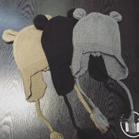 宝宝帽子秋冬季1-2-4岁韩版男女儿童针织婴儿毛线帽6-12个月3护耳