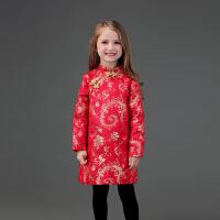 2018秋冬新款女童A字旗袍裙儿童改良民族服装红色过年款表演*