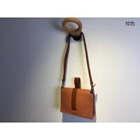 进口植鞣羊皮小方包日式简约原创迷你斜跨小包包女包休闲手袋 棕色