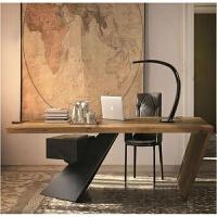 北欧实木办公桌简约现代老板桌电脑桌台式桌子工业风创意书桌