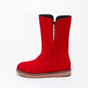 ELEISE美国艾蕾莎新品秋冬183-9151韩版磨砂绒面平跟女士女靴短靴雪地靴