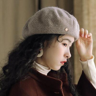 双层针织蓓蕾帽纯色帽子贝雷帽女兔毛混纺休闲画家帽 品质保证 售后无忧