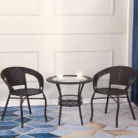 藤椅三件套阳台茶几组合户外家用桌椅庭院休闲藤编单人靠背椅茶桌 升级款单桌 颜色备注1号桌