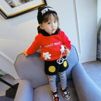 冬季婴儿宝宝两件套装加绒加厚连帽卫衣+条纹假两件打底裤