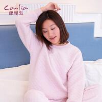 【便服】康妮雅睡衣 女士秋冬季中厚款运动休闲长袖家居服套装
