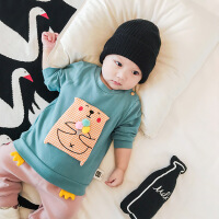 新生儿衣服秋装纯棉长袖上衣幼儿6-12个月满月婴儿外出服宝宝卫衣
