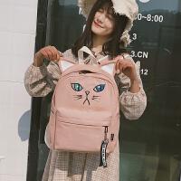 书包女韩版原宿ulzzang 中大学生背包简约卡通萌系可爱帆布双肩包
