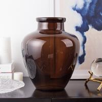 奇居良品 欧式家居装饰品摆件玻璃花器花插 莫西深咖色玻璃花瓶