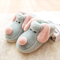 韩版可爱情侣居家用防滑厚底保暖毛毛拖鞋室内卡通棉拖鞋女