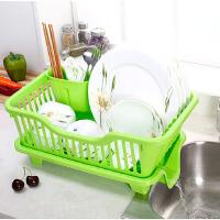 【满199减100】物有物语 置物架 碗碟沥水架三件套厨房用塑料沥水盘碗盘置物架碗架碗柜整理架