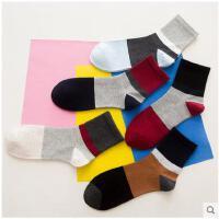 男袜撞色休闲中筒袜时尚休闲条纹中筒袜潮男士运动袜子中筒棉袜