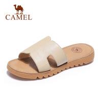 骆驼2019夏季新品拖鞋鞋女潮流时尚低跟露趾舒适时装凉鞋牛皮软底
