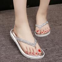 夏季韩版人字拖女士时尚拖鞋女平底鞋外穿凉拖夹脚拖鞋厚底沙滩鞋