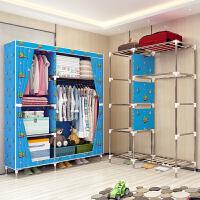 索尔诺 25MM管布衣柜钢管加粗加固 简易衣柜单人大号加厚牛津布艺衣橱2592D