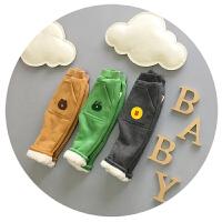 儿童裤子男宝宝加绒加厚裤子棉裤冬1-2-3周岁韩版布朗熊可开裆潮