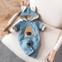 婴儿连体衣服冬季0岁7个月宝宝冬装靓仔衣服新生儿外出服