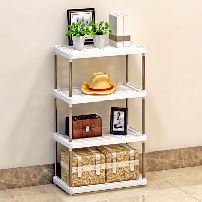 索尔诺四层置物架置物架 厨房层架塑料落地收纳储物架 浴室客厅整理架子Z614- 多用途加宽加固环保拆装简单