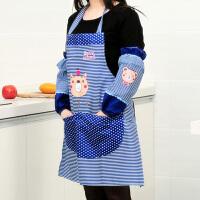 卡通小熊围裙护袖套装--蓝色
