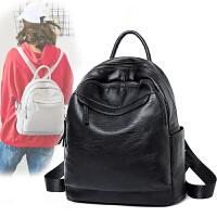 12新款韩版新款女士双肩包包潮百搭软皮时尚学生书包学园风英伦背包 黑色牛津布