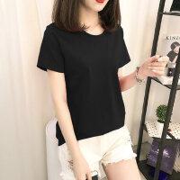 户外宽松纯色T恤简约韩版黑色短袖女时尚纯棉圆领半袖体恤