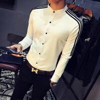 白衬衫男长袖韩版潮流 小清新青少年学生衣服修身帅气衬衣工作服