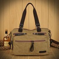 男包实用休闲大包包男士手提包帆布旅行包大号单肩斜挎包多口袋包 卡其色