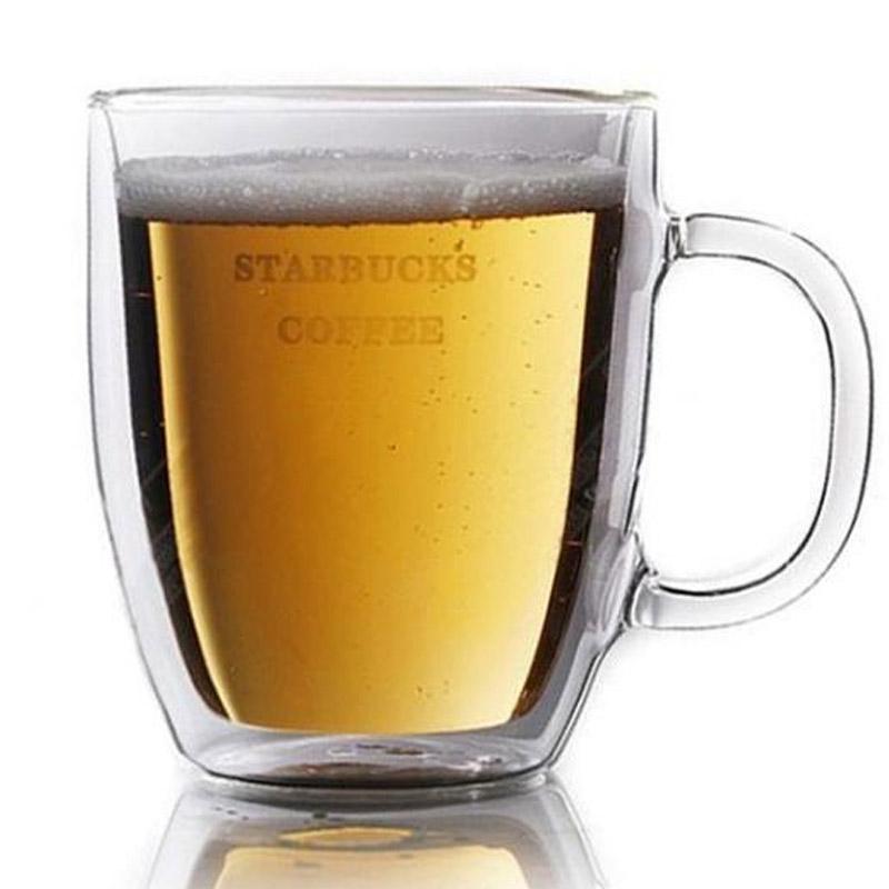 双层大马克杯 新版波顿大玻璃杯 带字母500ML