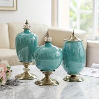 欧式美式摆件家居装饰品工艺品陶瓷摆瓶花瓶花插 客厅陶瓷摆瓶