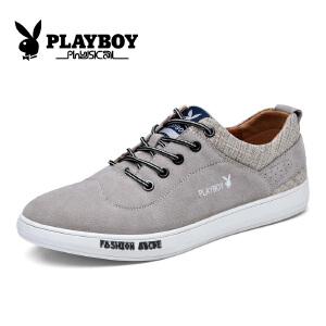 花花公子男鞋新款板鞋系带休闲鞋系带低帮鞋潮流帆布鞋 征-CX39097