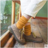 堆堆袜女 秋冬款加厚纯棉日系粗毛线高筒美腿袜学院风中筒袜子女