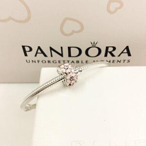 PANDORA潘多拉 粉色樱草花925银合成材料硅胶固定夹791823EN68