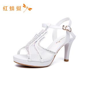 【专柜正品】红蜻蜓镂空透气细高跟优雅百搭女凉鞋