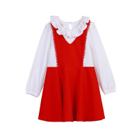 小猪班纳童装女童长袖连衣裙宝宝荷叶领口裙子儿童学院风甜美长裙