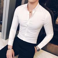 新款白衬衫男长袖 休闲韩版纯白衬衣 修身潮流帅气秋季发型师寸衫