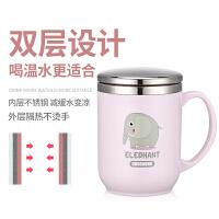 创意办公室马克杯带盖勺水杯304不锈钢茶杯带手柄咖啡杯儿童杯子