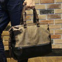 专柜男士手提包横跨公文包男单肩斜挎包休闲个性包包电脑皮包 图片色