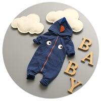 婴儿连体衣春秋纯棉新生儿衣服0-3-6个月男宝宝春装外出服卡通潮