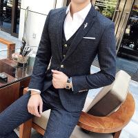秋季新郎官结婚礼服三件套装英伦时尚格子韩版修身发型师西服一套