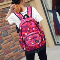 大容量高初中学生书包女日韩版旅行双肩包男时尚潮流帆布电脑背包 红色 ANKD格子红