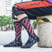 7双装长袜男潮街头欧美潮袜篮球袜女中长筒袜韩版学院风枫叶袜子