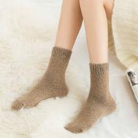 袜子女羊毛袜加厚毛圈中筒袜保暖韩版长袜纯色毛圈日系