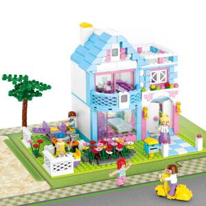 【当当自营】小鲁班新粉色梦想小镇女孩系列儿童益智拼装积木玩具 花园别墅M38-B0535