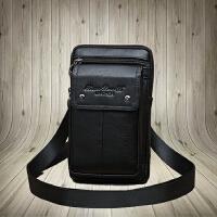 真皮男士手机腰包斜挎穿皮带迷你小挂包多功能小包 5/5.5/5.7/6寸