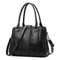 女包真皮手提包2017新款大包包拼接羊皮包大容量单肩包通勤百搭潮 黑色