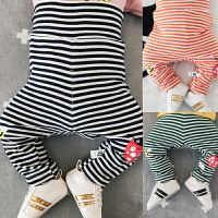 高腰婴儿长裤宝宝打底裤子护肚弹力条纹裤新生儿01岁3-6-9-12个月